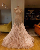 Wholesale evening dresses ostrich feathers resale online - Ostrich Feather Mermaid Evening Dresses Sparkly Sequins High Collar Gold Prom Dress Party Wear Sweep Train Luxury Formal Occasion Gowns