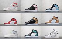 laços de amor venda por atacado-Nike Jordan Novos Homens 1s UNC Azul Frio Amor 1 WMNS Panda Fantasma Vela Vermelho Mid Multicolor Neutro Cinza Carmesim Sapatos de Basquete Tênis Com Caixa