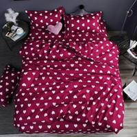 juego de cama hojas al por mayor-Inicio de cama 4pcs hoja plana Conjunto rojo del corazón Ropa de cama de conjuntos de planos de almohada cubierta del Duvet lindo niño pájaro cubierta de la hoja Ropa de cama