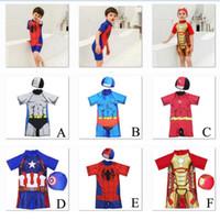 gorras de los vengadores al por mayor-Vengadores 4 del super héroe embroma el traje de baño del bebé del bañador Marvel Spiderman Iron Man Capitán América una sola pieza del traje de baño con el casquillo C21
