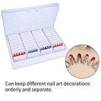 leere klare behälter großhandel-Schmuckschatulle Aufbewahrungsbox Leere Klar Nail Art Dekoration Strass Edelstein Perle Container Maniküre Werkzeuge