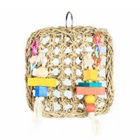 Wholesale bird climbing toys resale online - Straw Rope Net Swing Ladder Toys For Pet Parrot Birds Chew Play Climbing