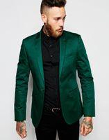 chaqueta esmeralda al por mayor-Emerald Green Novios Esmoquin Peak Lapel Men Trajes para Padrinos de boda Boda Prom Best Blazer / Novio (Chaqueta + Pantalones + Corbata)