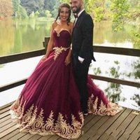 Wholesale vintage colorful wedding dresses resale online - Burgundy with Gold Lace Wedding Dresses Dubai Ball Gown Sweetheart Handmade Appliques Bridal Gowns Customize Plus Size