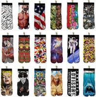 karikatür sox toptan satış-Moda Spor Çorap Çocuklar Erkekler 3D Baskılı Stocking Yeni Desen Hip Hop pamuk Çorap Unisex SOX Emoji Hayvan Karikatür Kafatası 10 pairs / 20 adet