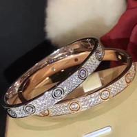 bracelet en diamant achat en gros de-Bijoux de luxe amour bracelet en argent sterling 925 étoiles diamant bracelet 2 couleur célèbre designer femmes mariage