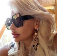 big framed glasses retro großhandel-Übergroße Sonnenbrille Frauen Big Frame Lunette Soleil Femme Platz Sonnenbrille 2019 Markendesigner Retro Vintage Okulary Eyewear