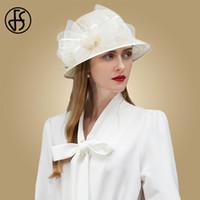 beyaz geniş ağza şapka toptan satış-FS Zarif Beyaz Siyah Pembe Bayan Şapka Geniş Brim Keten Düğün Yaz Bayanlar Ilmek Chapeau Fedora Şapka