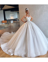 Wholesale strapless sweetheart ball gown wedding dress for sale - Group buy Elegant Strapless Lace Appliqued Ball Gown Wedding Dresses Luxury Sweetheart Cathedral Train PLus Size Bridal Gown