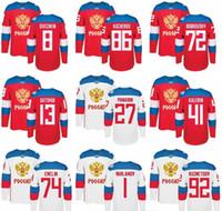 xxl russisch großhandel-Großhandel Herren Eishockey Russland Trikots Weltmeisterschaft WCH 72 Artemi Panarin Russisches Trikot 86 Nikita Kucherov 71 Malkin 8 Alex Ovechkin 13 Pavel