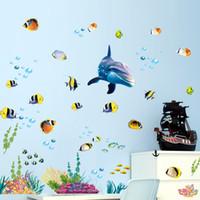 modern balık tutma dekoru toptan satış-Su geçirmez banyo mutfak duvar sticker okyanus derin su deniz ev dekor çıkartmalar yunus balık dekoratif çıkartması duvar çocuk odası