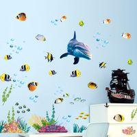рыбные наклейки для детей ванная комната оптовых-Waterproof bathroom kitchen wall sticker ocean deep water sea home decor stickers dolphin fish decorative decal mural kids room