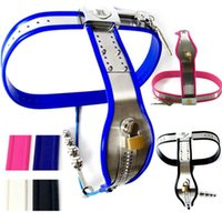 Wholesale female stainless steel underwear resale online - Stainless Steel Chastity Belt Silicone Liner Virginity Underwear Anal Plug Penis Restraints Chastity Device Sex Toys for Women G7