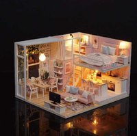 Wholesale 3d assembling diy house doll resale online - Ins D DIY Assemble Doll House Toy Handmade Miniature Dollhouse Toy With Furniture Dust Cover LED Music Birthday Valentine Gifts