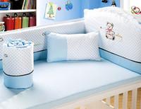 bebek yatakları toptan satış-Promosyon! 6PCS Bebek Uyku Seti Cot Beşik Yatak Seti bebek yatağı karyola takımları, (4bumpers + levha + yastık) içerir