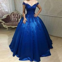 robe orange couleur veste achat en gros de-2019 bleu royal sur l'épaule robes de Quinceanera dentelle appliques robe de bal robes Occasion spéciale pour les douces 16 18 robes de soirée