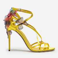 gelbe schwarze high heels großhandel-Slik Bow Damen Stiletto High Heels Pumps Schmetterling T-Strap Gladiator Sandalen Gelb Schwarz Blau Schnalle Mädchen Party Einzelne Schuhe