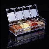 Wholesale seasoning box condiment resale online - Grade Plastic Seasoning Box Set Detachable Kitchen Condiment Dispenser Kitchen Accessories Seasoner Storage Cases And Spoon