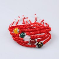 Wholesale lucky red string bracelet resale online - Lucky Bracelet Kabbalah Red String Thread Agate Charm Bracelets Women Handmade Jewelry Friendship Bracelets