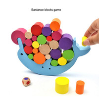 Wholesale block stacking games resale online - Blocks Wooden Stacking Blocks Toys Dolphin Balance Desk Games Building Blocks Children Baby Early Learning Educational Interactive Toys