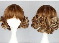 nouvelles perruques d'été achat en gros de-Perruque LL 004210 NOUVEAU !! Belle perruque courte bouclée brun or Summer Style peau Top Dames Perruques lolita