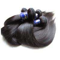 Wholesale unprocessed peruvian silk straight resale online - Original Peruvian Virgin Hair Silk Straight Kg Unprocessed Remy Human Hair Extension Bundle Weave Cuticle Aligned Hair