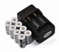 wiederaufladbare lithium-batterie cr123a großhandel-Lithium 8PCS 3.7V 2200mAh 16340 CR123A nachladbares Li-Ion + 1PCS 2 Schlitz Spielraum EU-Aufladeeinheit, Taschenlampen-Lithium-Batterie