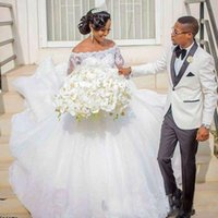 Wholesale off shoulder reception wedding dress resale online - 2020 African Wedding Dresses Ball Gown Off the shoulder with Long Sleeves Cheap Wedding Reception Dress Bridal Gowns