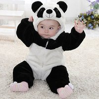 Wholesale baby clothes panda resale online - 2019 New Newborn Baby Cute Animal Panda Long Sleeve Cotton Winter Hooded Romper Baby Costume Clothing Clothes