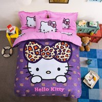 Wholesale chinese style king size bedding resale online - Cotton Bedding Sets Cartoon Hello Kitty Bed Set Duvet Cover Bed Sheet Pillowcase Soft And Comfortable King Queen Size