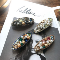Wholesale china purple heart online - 2019 New Crystal Pearl Barrettes Luxury Lady Maylee Spring New Clip Encrusted Fashion Women Jewelry Pretty Hair Clips Colors