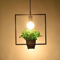 Wholesale square chandelier pendant lamp online - Hanging Lamp modern loft lighting Geometric Plants Pot Iron Square Round Suspension chandelier amerNature Designer For Decor Restaurant Caf