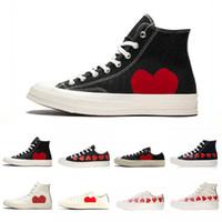 grandes estrelas vermelhas venda por atacado-Designer Conver Marca All Stars Sapatos de Lona CDG Grandes Olhos Vermelhos Corações Marca Bege Luxo Moda de Luxo Skateboarding Sapatilhas Casuais 35-44