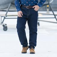 c12516a14e7 2019 New Winter Fleece Men Jeans Stretch Jeans Slim Fit Plus Size to  40-46-48 Big Men Retro Nostalgia Blue Pants Keep Warm