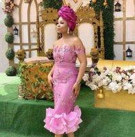 más el tamaño de té vestidos de fiesta al por mayor-Sirena Vestidos de dama de honor hasta el té Apliques de encaje Mujeres africanas Ropa formal Vestido de fiesta Moda Tallas grandes Vestidos de dama de honor
