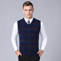 мужской корейский пуловер оптовых-2019 New Fashion  Sweater Mens Pullover Plaid Slim Fit Jumpers Knitting Sleeveless Autumn Korean Style Casual Mens Clothes