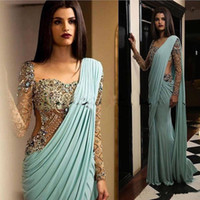 Wholesale fashion mint lace plus size mermaid resale online - 2020 India Evening Dresses Beaded Crystals Mermaid Mint Green Formal Party Dresses Aso Ebi Arabic Prom Dresses