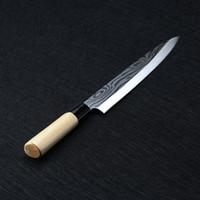 ingrosso coltelli laser-Laser Damasco Coltelli da cuoco Giapponese Salmone Sushi Coltelli Acciaio inossidabile Sashimi Coltello da cucina Filetto di pesce crudo Strati Cuoco Coltello