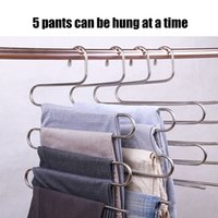 Wholesale anti slip clothes hangers resale online - Hot Stainless Steel Pants Hangers S Shaped Multifunctional Anti slip Storage Clothes Rack LSK99