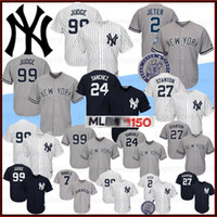 Wholesale stitched baseball jersey for sale - Group buy Yankees Aaron Judge Baseball Jerseys th Derek Jeter Babe Ruth Giancarlo Stanton New York Gary Sanchez Stitched Logos