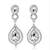 Wholesale shine earrings for sale - Group buy Shining Crystals Earrings Rhinestones Long Drop Earring For Women Bridal Jewelry Wedding Gift For Bridesmaids In Stock Cheap Whole Sale