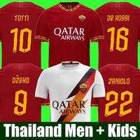 uniformes de futebol set men venda por atacado-Tailândia DE ROSSI DZEKO ZANIOLO camisa de futebol roma 2019 TOTTI PEROTTI jersey 19 20 kit de camisa de futebol 2020 roma Men and Kids define uniformes