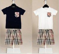 erkek çocuk bezleri toptan satış-Tasarımcı boys setleri 2018 Bebek çocuk 2 Parça setleri ekose cep kısa kollu gömlek + ekose şort çocuk giyim setleri 2 renkler