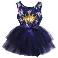 платья для девочек оптовых-2017 Принцесса детское платье новорожденный ребенок девочка одежда цветочные Корона печати пачка бальное платье вечерние платья для 0-24M детей