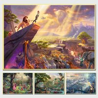 Wholesale canvas wall prints lion for sale - Group buy Thomas Kinkade Cartoon Lion King HD Canvas Painting Print Living Room Modern Wall Art Oil Painting Poster Home Decor