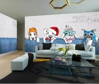 Wholesale pictures puppies resale online - custom size d photo wallpaper mural living room Cartoon puppy animal kids room picture sofa TV backdrop wallpaper mural non woven sticker