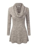 yuvarlak boyun yaka gömlek toptan satış-Yeni Moda Bayan Uzun kollu, yuvarlak yakalı, yüksek yakalı Tişört ve büyük beden bayan elbisesi Avrupa ve Amerika'da 2019'da