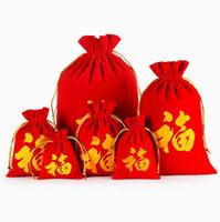 ingrosso borse cinesi rosse-Parola di stile cinese FU Stampa sacchetti di Velevt rosso Sacchetto di imballaggio del regalo di Capodanno Borsa di cordoncino di Natale di nozze
