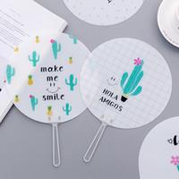 Wholesale cute hand fan resale online - Cartoon Hand Fan Cute Cartoon Small Fan Student Carry Mini Round Fan Creative Supply Gift Fashion