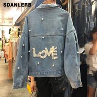 jacke jeans perlen großhandel-Cowboy Jacke Kurz-Stil Frauen Frühling und Herbst Lose Jeansjacken Studenten Korean Style Love Bead BF Jeans Mantel Mäntel